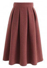 Sweet Distance Wool-Blended Midi Skirt in Red Brown - Retro, Indie and Unique Fashion Muslim Fashion, Hijab Fashion, Fashion Dresses, Skirt Outfits, Casual Outfits, Model Rok, Unique Fashion, Womens Fashion, Led Dress