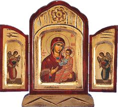 Theotokos with Christ Triptych Hand-Painted Greek Orthodox Icon Religious Icons, Religious Art, Triptych Art, Prayer Corner, Religion, Feuille D'or, Blessed Mother Mary, Sacred Art, Our Lady