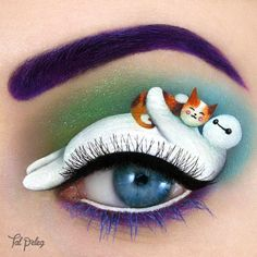 Cute friendship!  Baymax and Mochi the cat from @bighero6  ~~~ MAIN PRODUCTS Baymax: @mehronmakeup white watercolor topped with @morphebrushes white, black and grey (for shading) eyeshadow. Eyes: two black caviar beads and Mheron's black watercolor. Mochi: Monaco watercolors, @concreteminerals Ember. Two pink Caviar beads for blush. Waterline: @ofracosmeticsisrael White gel eyeliner Eyeshadows in the back: @colourpopcosmetics Chipper and Ofra cosmetics Ocean blue. Lower lashes: Monaco purple…