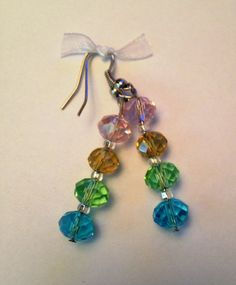 Stacked Rainbow Crystals Earrings by TripIntoLight on Etsy