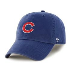 b3c399ee638 Chicago Cubs 47 Brand Royal Blue Red Clean Up Adjustable Slouch Hat Cap