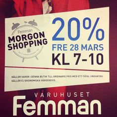 MISSA INTE! Nu på fredag är det morgon shopping i #Femman i #Göteborg och vi på #PopUpPlace är självklart morgonpigga och ger dig 20% rabatt...