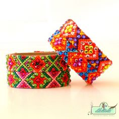 Swarovski Crystal Friendship Bracelet Cuff by DILETTANTEsoutache.deviantart.com on @deviantART