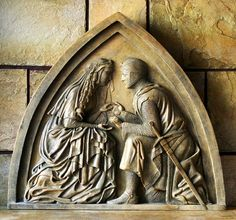 """""""Sir Lancelot and Guinevere plaque"""", Proposal Scene."""
