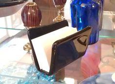 Black Business Card Holder - Fused Glass. $24.00, via Etsy.