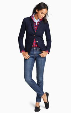 J.Crew navy schoolboy jacket with gold buttons, red and navy plaid button up, jeans