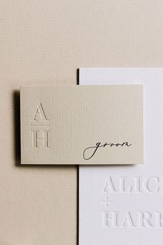 Details from The Alicia wedding stationery suite which includes blind debossed initials on textured linen paper. Perfect for couples looking for minimal and modern wedding stationery. Invitation Paper, Stationery Paper, Stationery Design, Branding Design, Invitations, Invitation Suite, Modern Wedding Stationery, Wedding Stationery Inspiration, Wedding Invitation Design