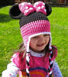 Minnie Mouse Crochet Hat Pattern by Lizzziee   baby to adult sizes - Instant Download