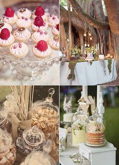Inspiración para mesas de postre para bodas de cuento de hadas