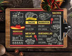 Creative mexican food menu template for your restaurant business with graphic food illustrations - tacos, burritos, nachos. Pizza Menu Design, Food Menu Design, Mexican Food Menu, Mexican Food Recipes, Delicious Restaurant, Menu Restaurant, Quesadillas, Nachos, Burrito Shop