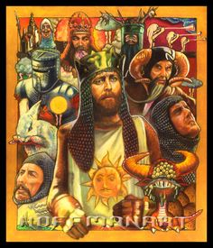 It's Monty Python and the Holy Grail collage. Prismacolor/pastels on velour x Monty Python: the Holy Grail Monty Python, Eric Idle, Singing In The Car, Dry Humor, V Games, Comedy Tv, Life Drawing, Vintage Posters, I Movie
