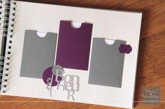 Livre d'or - Gris, Blanc et violet - chic et élégance - intérieur pochettes http://www.mainsetmerveillesdeco.fr/gris-violet-livre-dor/