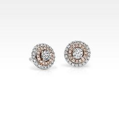 Monique Lhuillier Double Halo Earrings in White and Rose Gold Blue Nile Pink Diamond Earrings, Diamond Pendant Necklace, Round Earrings, Diamond Studs, Blue Nile Jewelry, Rose Gold Jewelry, Fine Jewelry, Jewellery, Bridal Jewelry