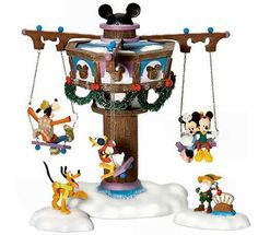 Swinging Disney Fab 5 NEW still sealed Department Dept. 56 North Pole Village NP