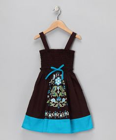 Take a look at this Dark Brown & Blue Shirred Dress - Toddler & Girls by Zunie & Pinky on #zulily today!