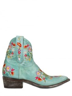 40mm Leather Embroidered Floral Boots - Lyst