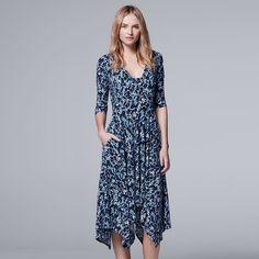 Women's Simply Vera Vera Wang Print A-Line Dress, Size: Small, Dark Blue