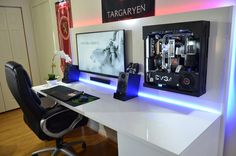 Captivating PC Gaming Desk Setup Latest Modern Furniture Ideas with Gorgeous Gaming Computer Desk Make You Inspired Findingdesk – Interior Design Setup Desk, Office Setup, Pc Setup, Room Setup, Simple Computer Desk, Computer Desks For Home, Gaming Computer Desk, Gaming Pcs, Gaming Rooms