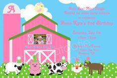 Pink Farm Petting Zoo Birthday Party Printable Invitation