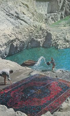 Vintage National Geographic Scan: Rug Washers in Tehran, Iran, 1960