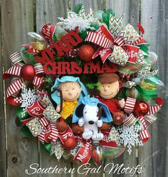 """Charlie Brown Christmas wreath""!!!♡♡ Check out this item in my Etsy shop https://www.etsy.com/listing/476370780/charlie-brown-christmas-wreath-charlie"