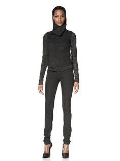 Rick Owens DRKSHDW Women's Denim Biker Jacket with Leather Sleeves,