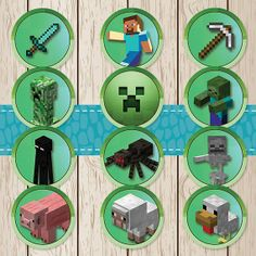 Printable Minecraft Stickers / Cupcake by BrightOwlCreatives, $6.00