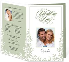 Letter Single Fold : Leaves Wedding Program Templates. Edits easily and quickly in Word, OpenOffice, Publisher, and Apple iWork Pages.