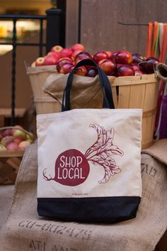 "For the farmers' market fanatic, this ""shop local"" tote is a stylish way to carry your fruits and veggies.  ($25, seltzergoods.com)    - CountryLiving.com"