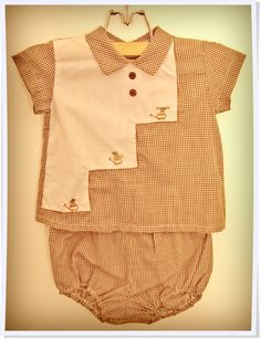 1960's brown gingham boys 2 piece outfit. So sweet :-)  www.littlelostwonders.com