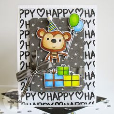 card critters monkey Reverse Confetti balloon balloons gift Monkey Birthday by Kathy Martin for using the new Monkey Business stamps and Confetti Cuts. Birthday Poems, Monkey Birthday, Birthday Cards For Boys, Handmade Birthday Cards, Happy Birthday Cards, Birthday Greeting Cards, Boy Cards, Kids Cards, Cute Cards