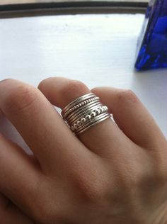 Set of 11 Sterling Silver Stacking Rings, 9 Smooth or Hammered Bands, 1 Large & 1 Small Bubble, custom made to order by HomegrownSilverStone on Etsy https://www.etsy.com/listing/113477845/set-of-11-sterling-silver-stacking-rings