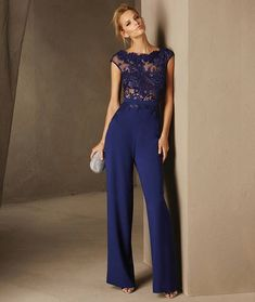 Breda - Cocktail jumpsuit with short sleeves and a bateau neckline in lace and crepe Royal Blue Evening Dress, Royal Blue Dresses, Dresses Uk, Plus Size Dresses, Bridal Dresses, Bridesmaid Dresses, Prom Dresses, Formal Dresses, Cocktail Jumpsuit