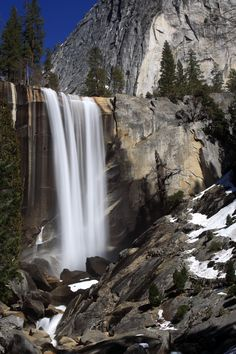 Vernal Falls, Yosemite, California. The gray stone is amazing in this waterfall.