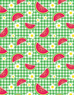 Watermelon on green gingham Wallpaper 2017, Summer Wallpaper, Iphone 6 Wallpaper, Flower Wallpaper, Pattern Wallpaper, Paper Scrapbook, Watermelon Cartoon, Gift Wrapper, Tea Art