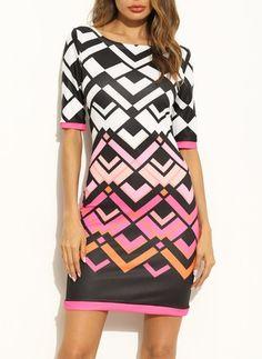 Polyester Módny Farebná kombinácia Polovičné rukávy Nad kolená Šaty Drill, Black, Dresses, Fashion, Half Sleeves, Dama Dresses, Colors, Drill Press, Vestidos