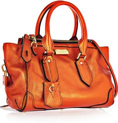 Burberry Metallic Leather Tote - Tangerine