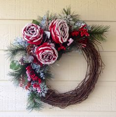 Snow Covered Roses Christmas Wreath by PickingPetals on Etsy