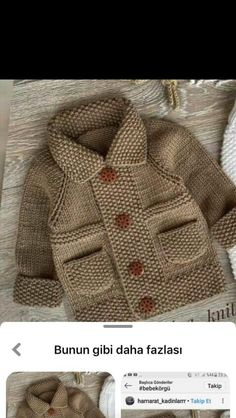 Baby Cardigan Knitting Pattern Free, Baby Boy Knitting Patterns, Knitting For Kids, Knitting Designs, Knit Baby Sweaters, Knitted Baby Clothes, Baby Boy Sweater, Crochet Baby, Knit Crochet