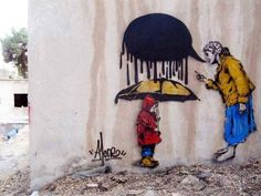 Graffiti, urban street art, kid, umbrella,freedom