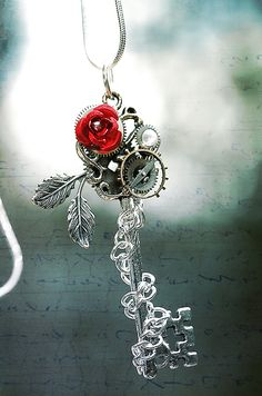 key, and rose, and steam punk? Winter Rose Key by *Drayok Key Jewelry, Cute Jewelry, Jewelery, Jewelry Making, Unique Jewelry, Fantasy Jewelry, Gothic Jewelry, Winter Rose, Magical Jewelry
