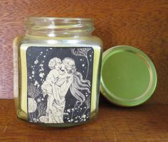 CANDLE IN A JAR/ Mother & Child/ Natural wax/ by ShayCandles, $18.00