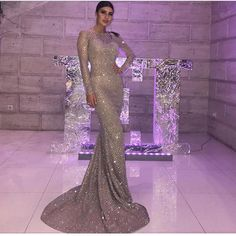 Silver Gold Plaid O Neck Party Maxi Dresses Bodycon Glitter Hollow Out Full  Sleeved Floor Length Elegant Evening Club Dress 238b978844c7