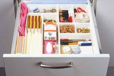TIP: Lose your junk drawer. A drawer without a purpose is a recipe for a mess. Make a utility drawer instead for scissors, tape, batteries, and screwdrivers.