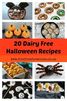 These dairy free halloween recipes are all great for a fiendish feast. Many are free from other top allergens too. Dairy Free Halloween Recipes, Halloween Snacks For Kids, Gluten Free Recipes For Kids, Halloween Treats For Kids, Halloween Desserts, Kid Halloween, Fun Recipes, Vegetarian Recipes, Halloween Costumes