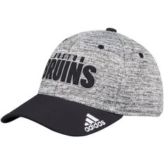 ec4a77f8e909f Men s Boston Bruins adidas Heathered Gray Black Delta Flex Hat