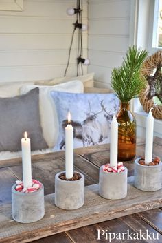 Concrete candle holders
