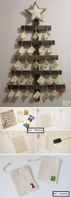 ideas Inc this Wall Mounted Advent Calendar. It is fun and simple to build this wall mounted advent calendar for your family. It is perfect for the rustic Christmas decoration! Christmas Countdown Calendar, Diy Advent Calendar, Calendar Ideas, Advent Calendars, Rustic Christmas, Winter Christmas, Christmas Christmas, Christmas Projects, Holiday Crafts