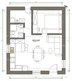 Sims House Plans, Small House Plans, House Floor Plans, Floor Plan Sketch, Casa Loft, Backyard Buildings, Weekend House, Shed Homes, Apartment Plans
