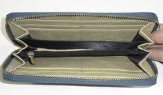 Lederen rits portemonnee blauw-groen/beige